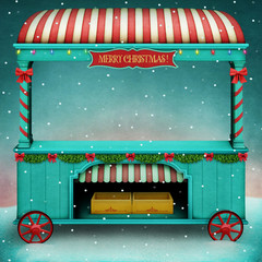 Holiday illustration or poster or greeting card for Christmas or New Year with  vintage market showcase.