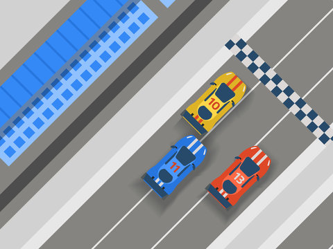 Racing track road, car sport banner illustration. Transportation roadway track design elements top view constructor for vehicle. Race competition facilities. Finish line.