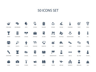 50 filled concept icons such as cake, graduated, university, airplane, teacher, jacket, books,flowers, camera, cruise, teacher, balloons, bow tie