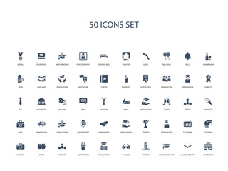 50 filled concept icons such as university, laurel wreath, graduation hat, wisdom, glasses, graduation, conference,podium, apple, camera, cupcake, calendar, graduation