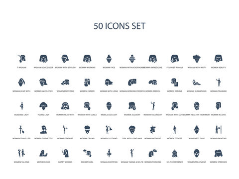 50 filled concept icons such as women stressed, women treatment, self confidence, woman thinking, woman taking a selfie, woman shopping, dreamy girl,happy motherhood, women talking, painting, eye