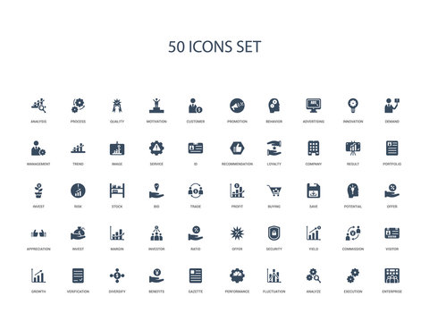50 filled concept icons such as enterprise, execution, analyze, fluctuation, performance, gazette, benefits,diversify, verification, growth, visitor, commission, yield