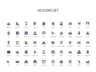 50 filled concept icons such as factory, antenna, subway, building, parking, gas station, hospital,city hall, gate, slide, phone booth, hospital, car