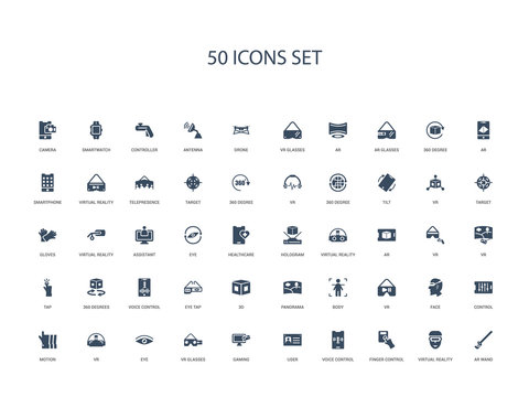 50 filled concept icons such as ar wand, virtual reality, finger control, voice control, user, gaming, vr glasses,eye, vr, motion, control, face, vr