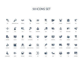 50 filled concept icons such as browser, de, team, gear, link, key, monitor,network, target, management, settings, whiteboard, location