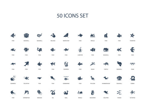 50 filled concept icons such as octopus, fishes, dolphin, seahorse, whale, seal, eel,medusa, swordfish, fish, cobra, seashell, hummerhead