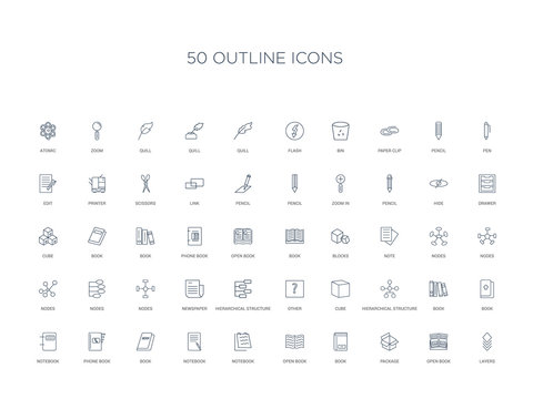 50 outline concept icons such as layers, open book, package, book, open book, notebook, notebook,book, phone notebook, hierarchical structure