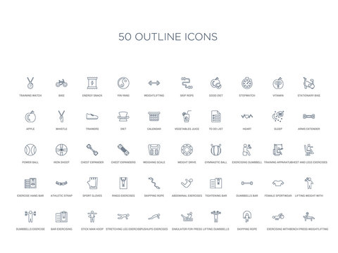 50 outline concept icons such as bench press weightlifting, exercising with gymnastic ball, skipping rope, lifting dumbbells, simulator for press, pushups exercises, stretching leg exercise,stick