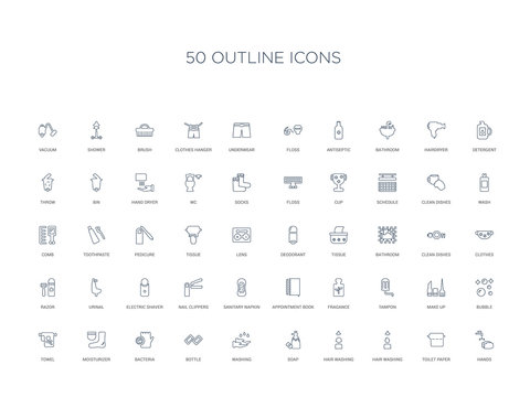 50 outline concept icons such as hands, toilet paper, hair washing, hair washing, soap, washing, bottle,bacteria, moisturizer, towel, bubble, make up, tampon