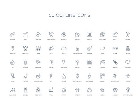 50 outline concept icons such as happy children, children, children, drawing, painter, train,teddy bear, crayon, playhouse, rattle, butterfly net, puzzle