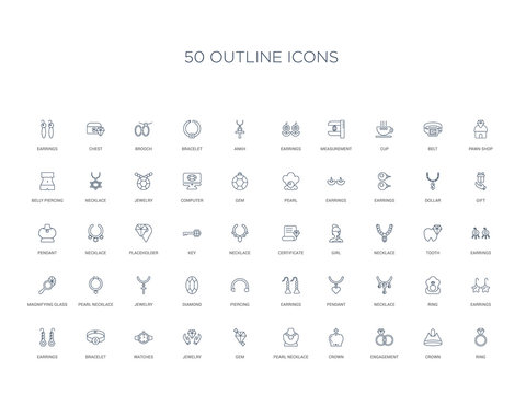 50 outline concept icons such as ring, crown, engagement, crown, pearl necklace, gem, jewelry,watches, bracelet, earrings, earrings, ring, necklace