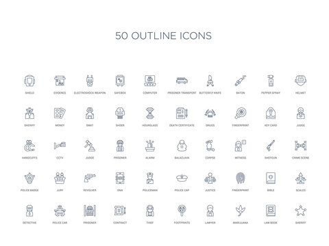 50 outline concept icons such as sheriff, law book, marijuana, lawyer, footprints, thief, contract,prisoner, police car, detective, scales, bible, fingerprint