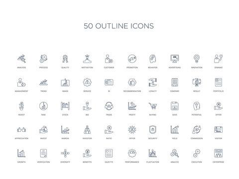 50 outline concept icons such as enterprise, execution, analyze, fluctuation, performance, gazette, benefits,diversify, verification, growth, visitor, commission, yield