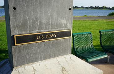 Military plaques at veterans memorial