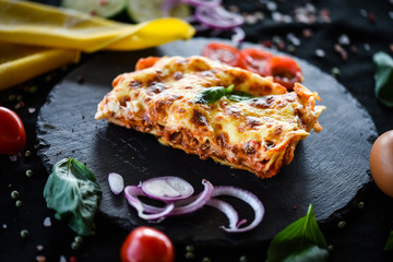 In de dag Brood italian lasagna slice with fresh ingredients