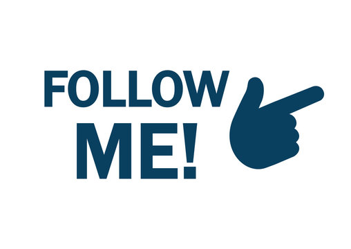 Follow me icon with hand – stock vector