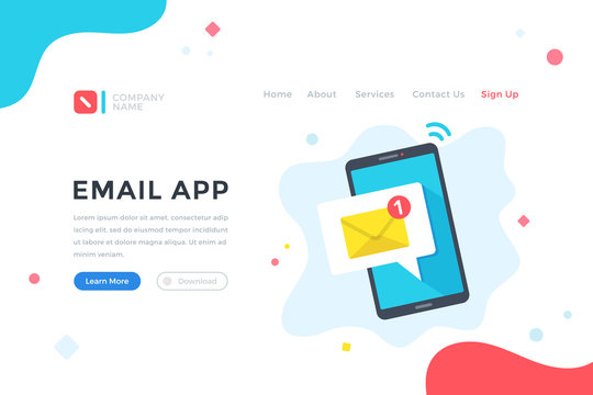 Email app. E-mail marketing, mobile application, email notification concept. Modern flat design graphic elements for web banner, landing page template, website. Vector illustration