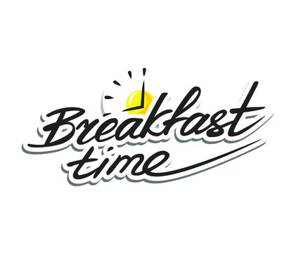 Lettering breakfast time with the symbol of  fried eggs and clocks