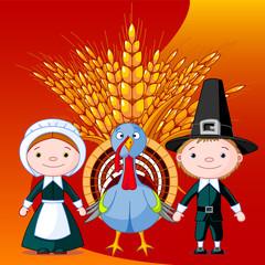 Foto op Canvas Sprookjeswereld Pilgrims and turkey