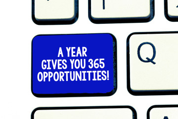 Conceptual hand writing showing A Year Gives Your 365 Opportunities. Business photo showcasing Fresh new start Motivation inspiration Keyboard Intention to create computer message keypad idea