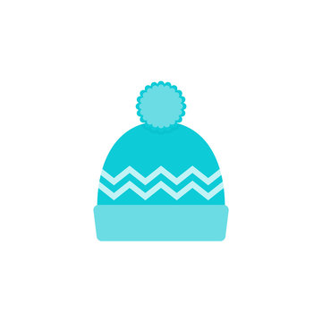 Winter hat icon. Vector. Knit wool beanie with pompom. Blue knitted ski cap isolated on white background. Flat design. Cartoon colorful illustration. Outerwear symbol.