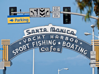 Editorial view of the historic Santa Monica Pier Yacht Harbor entrance sign on May 26, 2012 in Santa Monica, California, USA.