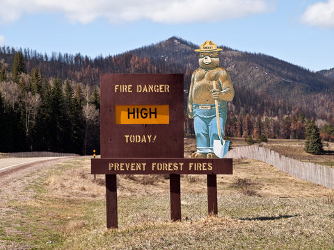 Smokey the Bear forest fire prevention sign warns tourists about high fire danger on April, 12, 2012 in Santa Fe, New Mexico, USA.