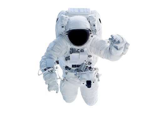 The astronaut in a space suit, waves a hand, isolated on a white background. Elements of this image were furnished by NASA