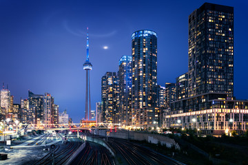 Fototapete - Toronto skyline by night