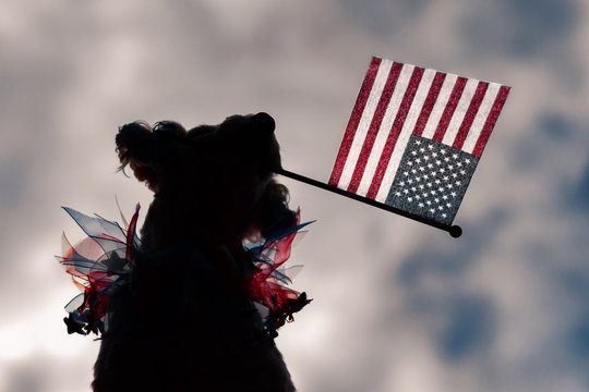 Silhouette dog holding american flag with clouds