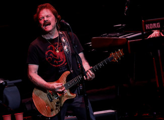 Tom Johnston performs with his band The Doobie Brothers at the Bethel Woods Center for the Arts, at the original site of the Woodstock Festival on the 50th anniversary, in Bethel, New York