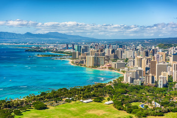 Honolulu city view from Diamond Head lookout, Waikiki beach landscape background. Hawaii travel.
