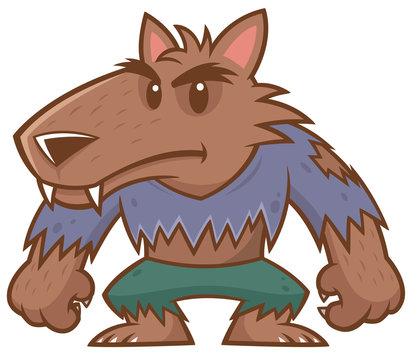 Vector illustration of Halloween werewolf cartoon