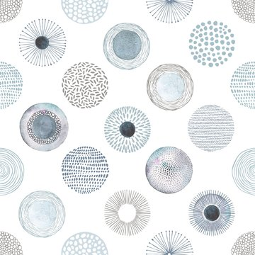 Seamless vector pattern with hand-drawn and watercolor circles texture, abstraction illustration on white background in vintage style.