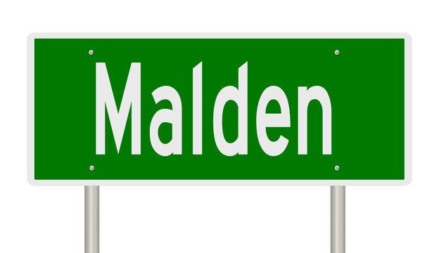 Rendering of a green highway sign for Malden Massachusetts