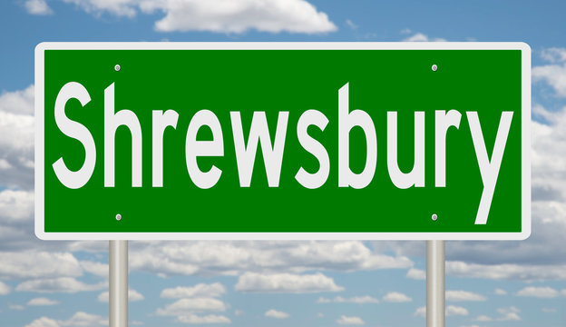 Rendering of a green highway sign for Shrewsbury Massachusetts