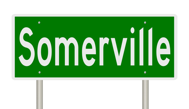 Rendering of a green highway sign for Somerville Massachusetts