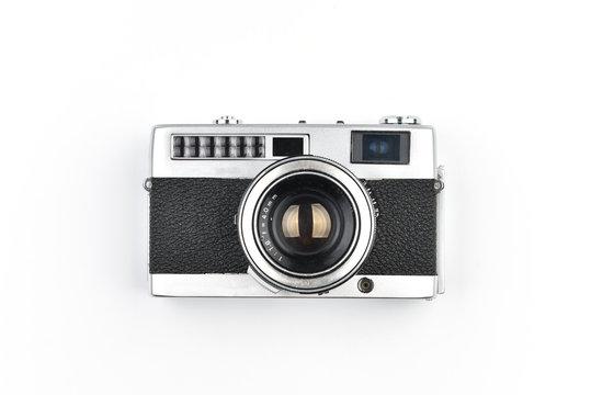 Vintage SLR camera isolated on white background
