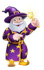 A cute wizard cartoon character pointing and waving with magic wand
