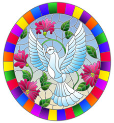 Illustration in stained glass style with flying white dove on  background of pink flowers , oval picture in bright frame