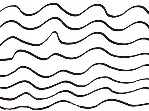 Hand drawn black ink wavy lines on white background. Overlapping doodle style wavy line. Geometrical pattern. Abstract backdrop. Sea waves.