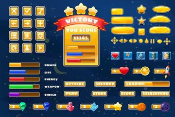 Big set buttons icons elements for Space game cartoon casual games and app