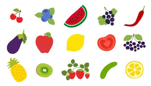 Vegetables, fruits, berries set. Cherry, blueberry, watermelon, currant, pepper, eggplant, apple, lemon, tomato, black chokeberry, pineapple, kiwi, strawberry, cucumber. Vector sketch. Natural product