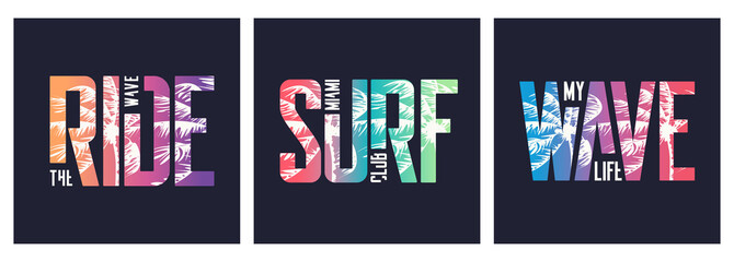 Collection of three vector graphic t-shirt designs, typography, prints on the topic of sufing