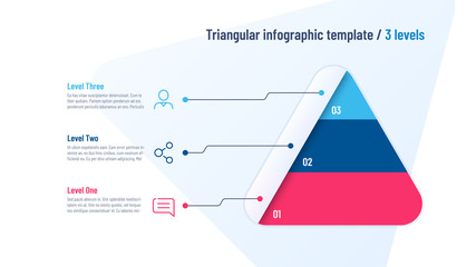 Vector infographic template in the shape of triangle, pyramid divided by 3 parts