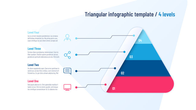Vector infographic template in the shape of triangle, pyramid divided by 4 parts