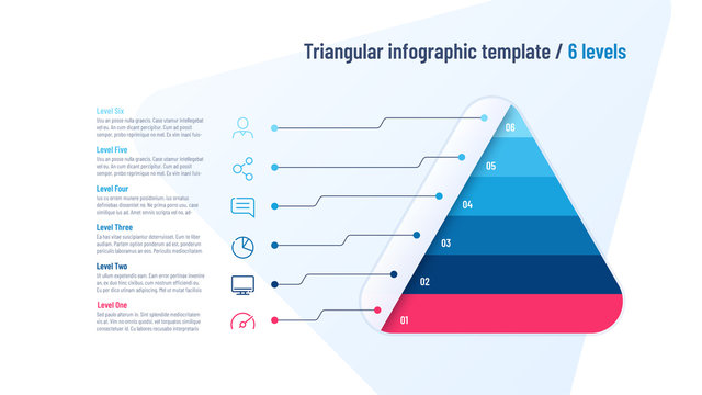 Vector infographic template in the shape of triangle, pyramid divided by 6 parts