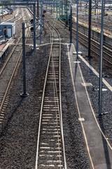 Railroad tracks Southern Cross Station in Melbourne Australia