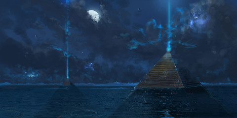 Pyramid with Deep Sea. Science Fiction Backdrop. Concept Art. Realistic Illustration. Video Game Digital CG Artwork. Nature Scenery.