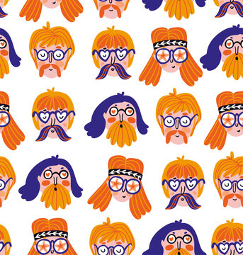 Funny cute hippies portraits. Vector  festival print. Seamless pattern design with hand drawn stylish faces.